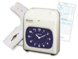 Amano BX-1500 Time Clock Package: BX-1500 manual time clock, 200 weekly payroll time cards and 6 slot card rack