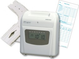 Amano BX-1600 Time Clock Package: BX-1600 time clock, 200 weekly payroll time cards and 6 slot card rack